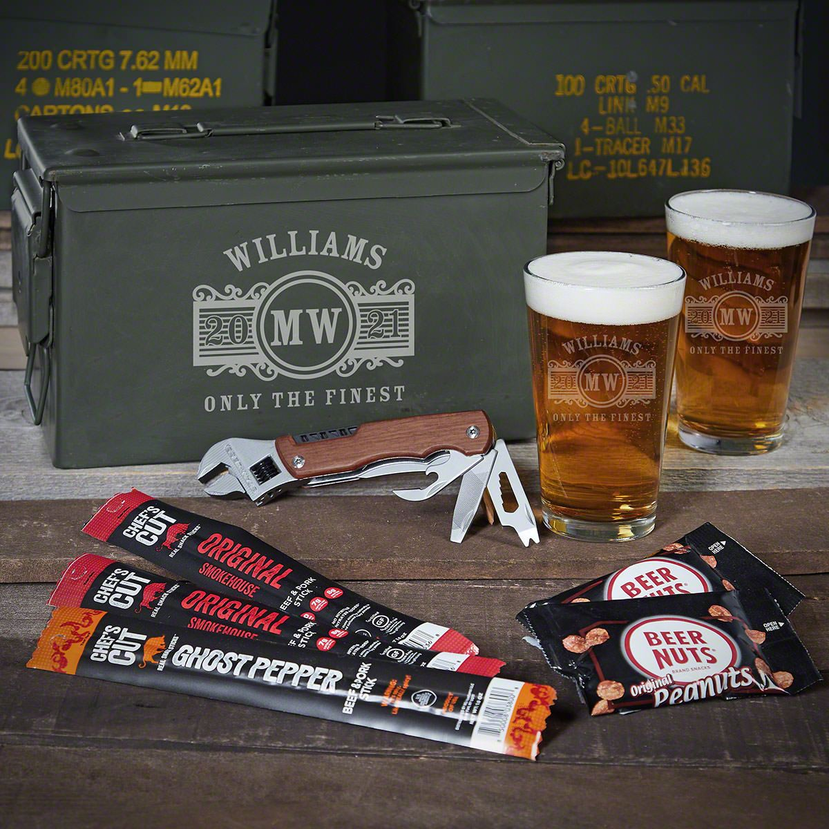 Marquee Personalized 50 Cal Ammo Can Set Beer Gifts for Men