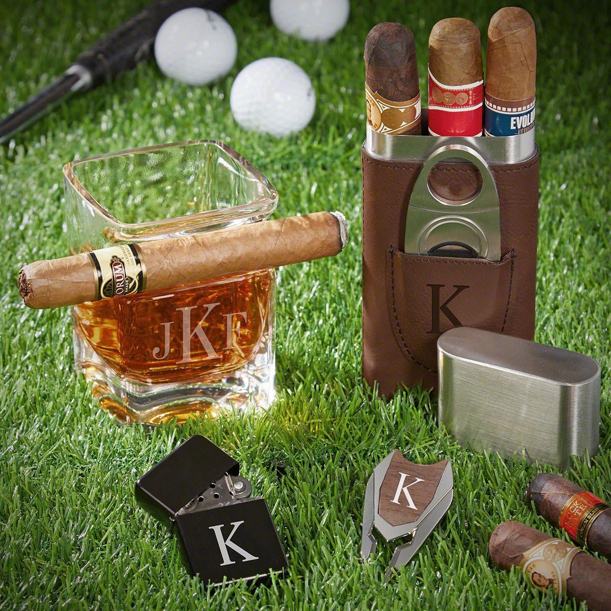 Classic Monogram Custom Whiskey and Cigar Gift Set