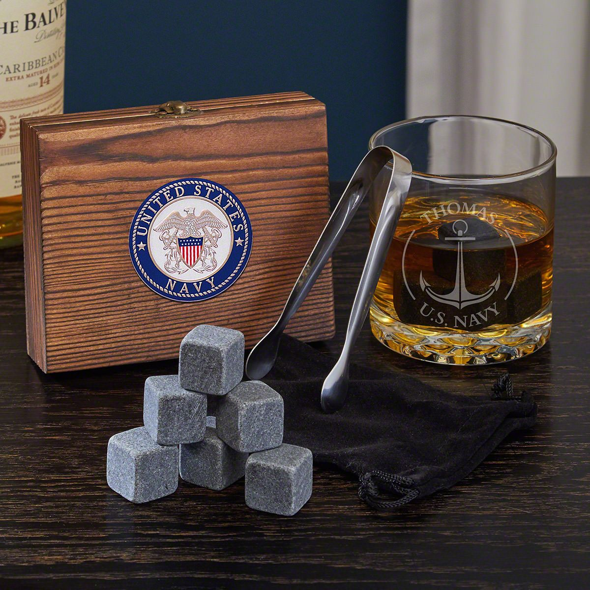 Naval Anchor Engraved Whiskey Stone Set US Navy Gifts