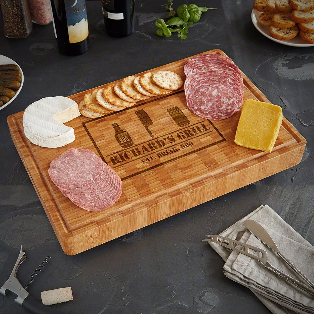 BBQ And Beer Engraved End Grain Bamboo Butcher Block