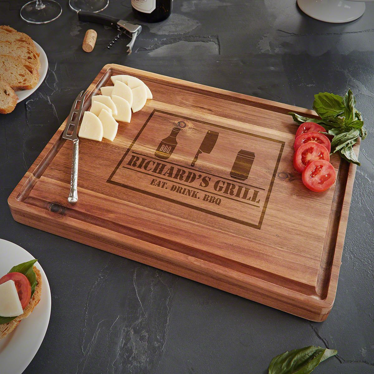 BBQ And Beer Acacia Personalized Butcher Block