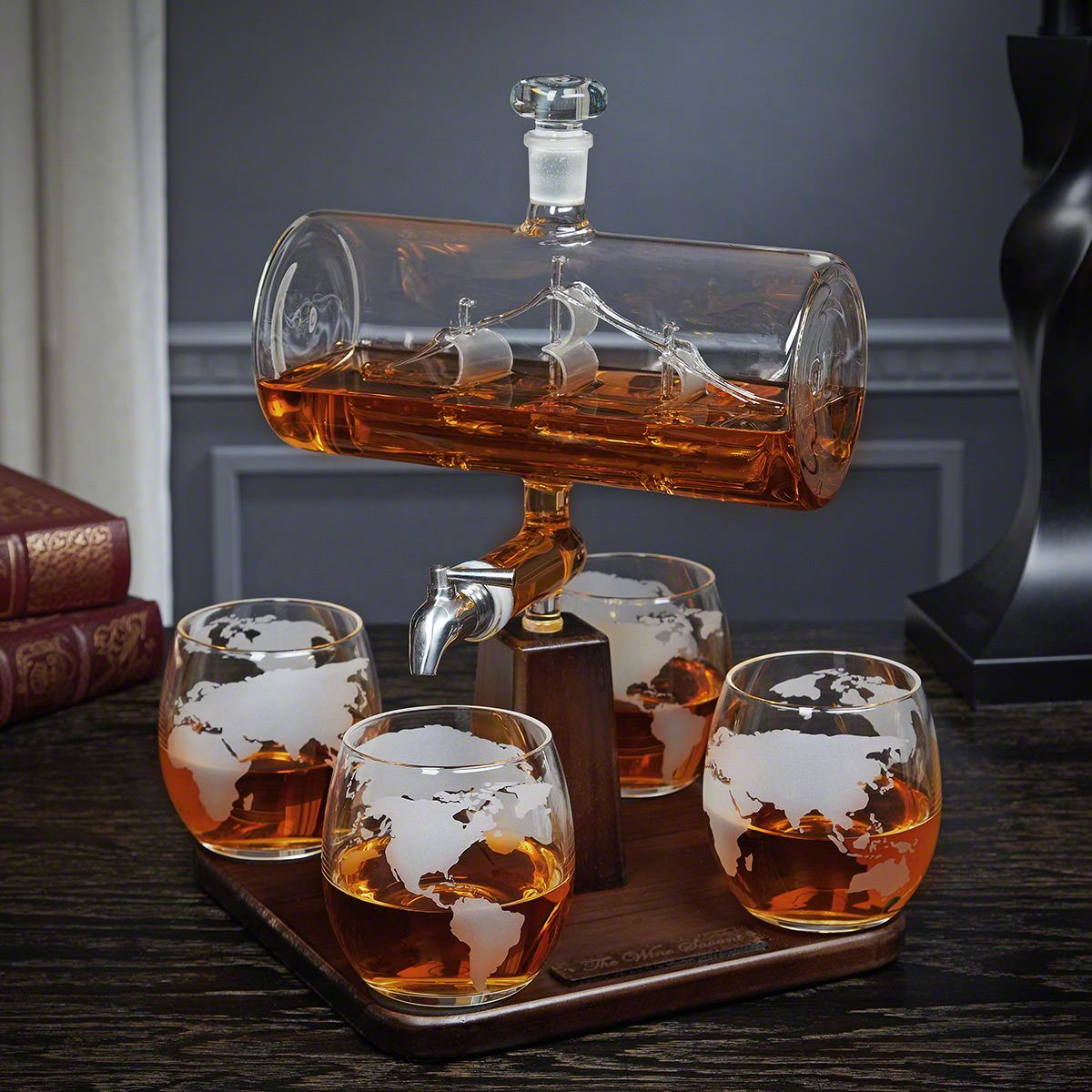 Sail Away Whiskey Decanter Set with Globe Glasses