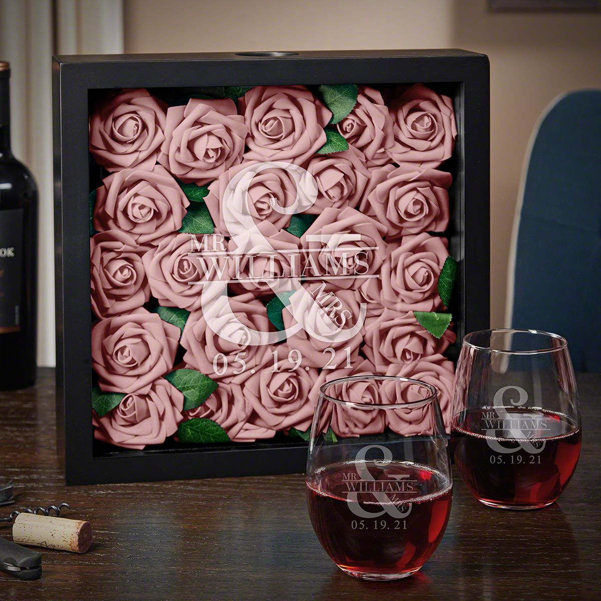 Love And Marriage Custom Shadow Box With Wine Glasses Wedding Gifts