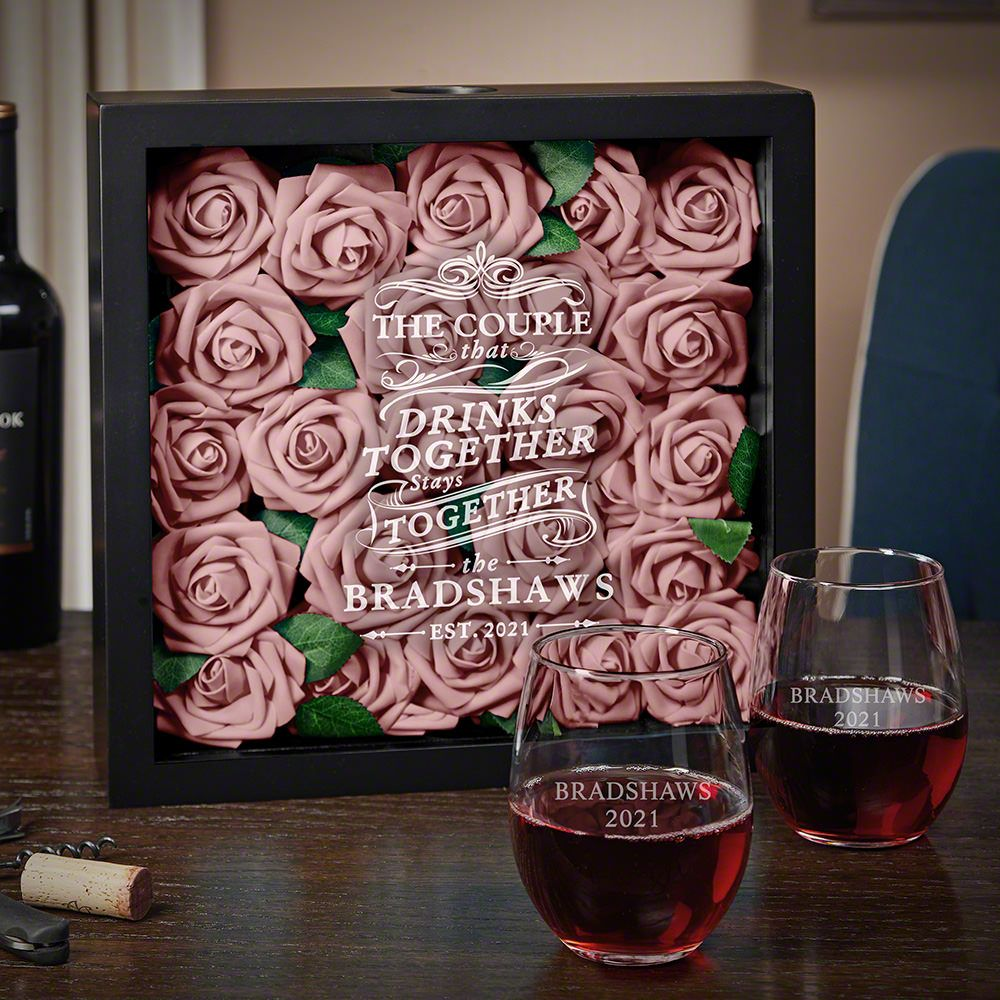 Drink Together Stay Together Custom Shadow Box Set Wedding Gift Ideas