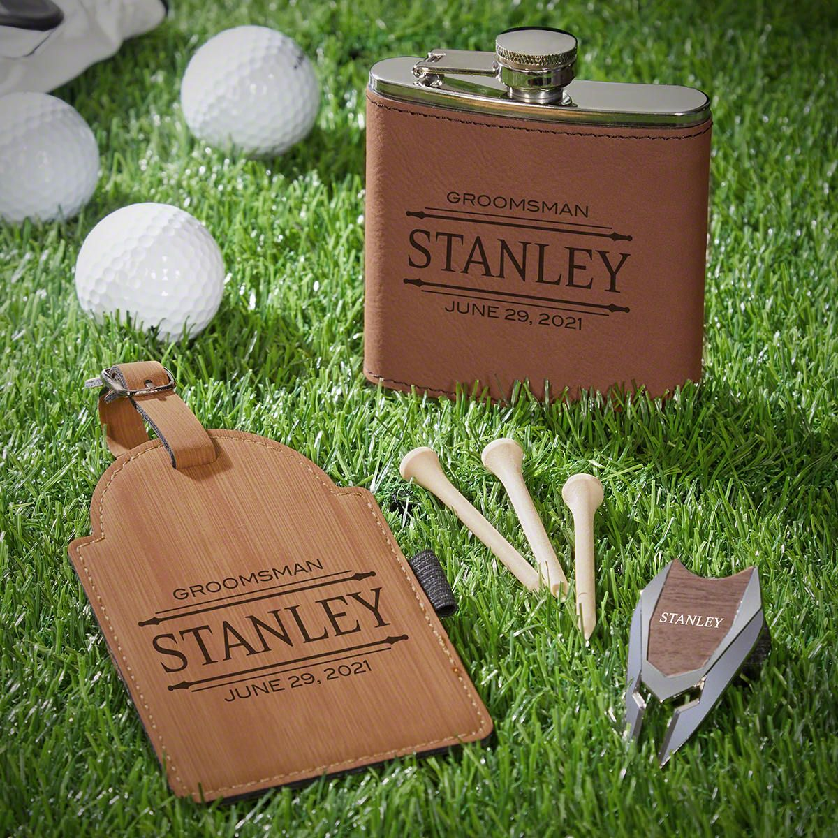 Stanford Personalized Golf Gifts Set with Flask