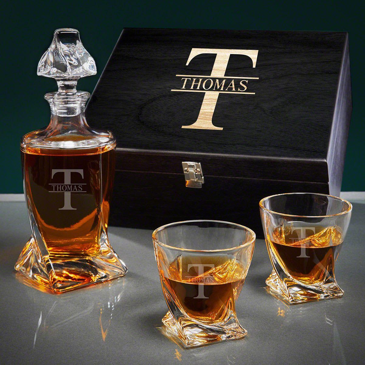 Oakmont Engraved Twist Crystal Whiskey Decanter Set