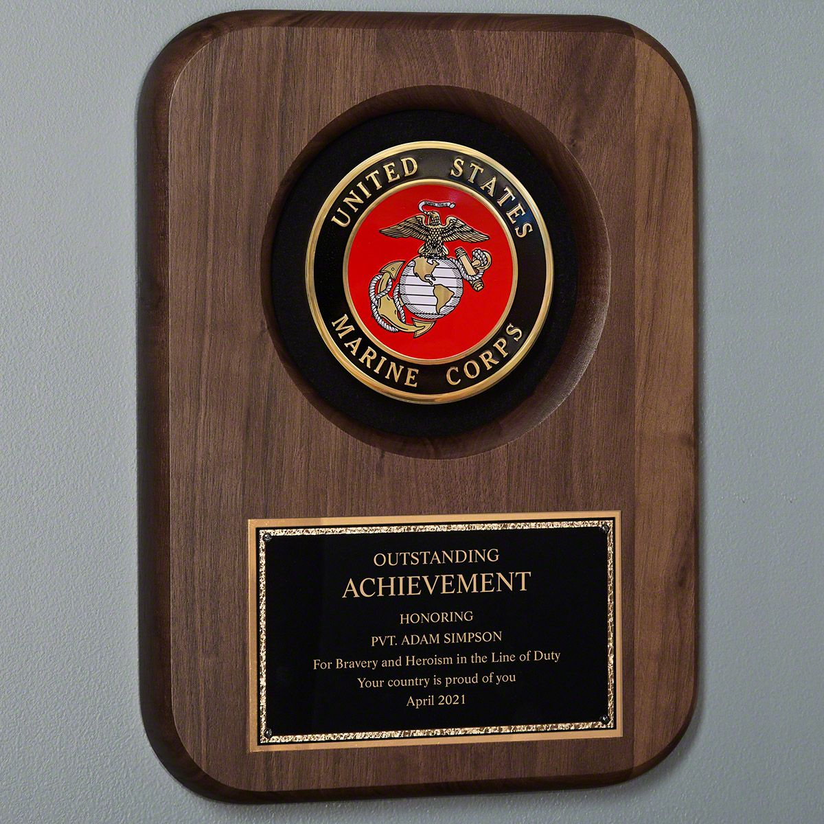Marine Personalized Plaque for Retirement