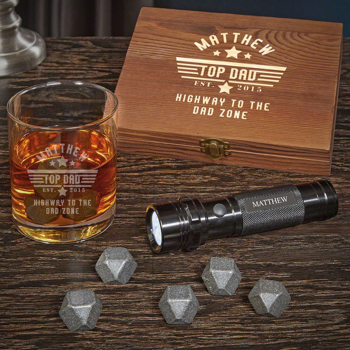 Top Dad Personalized Black Onyx Whiskey Set With Flashlight Gifts for Dad