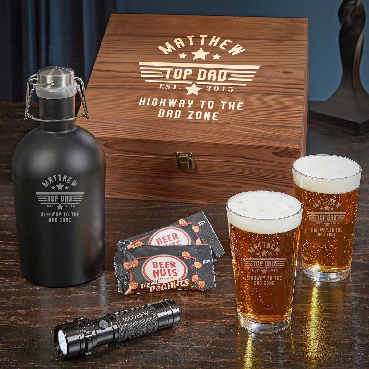 Top Dad Beer Box Set of Engraved Gifts for Dad