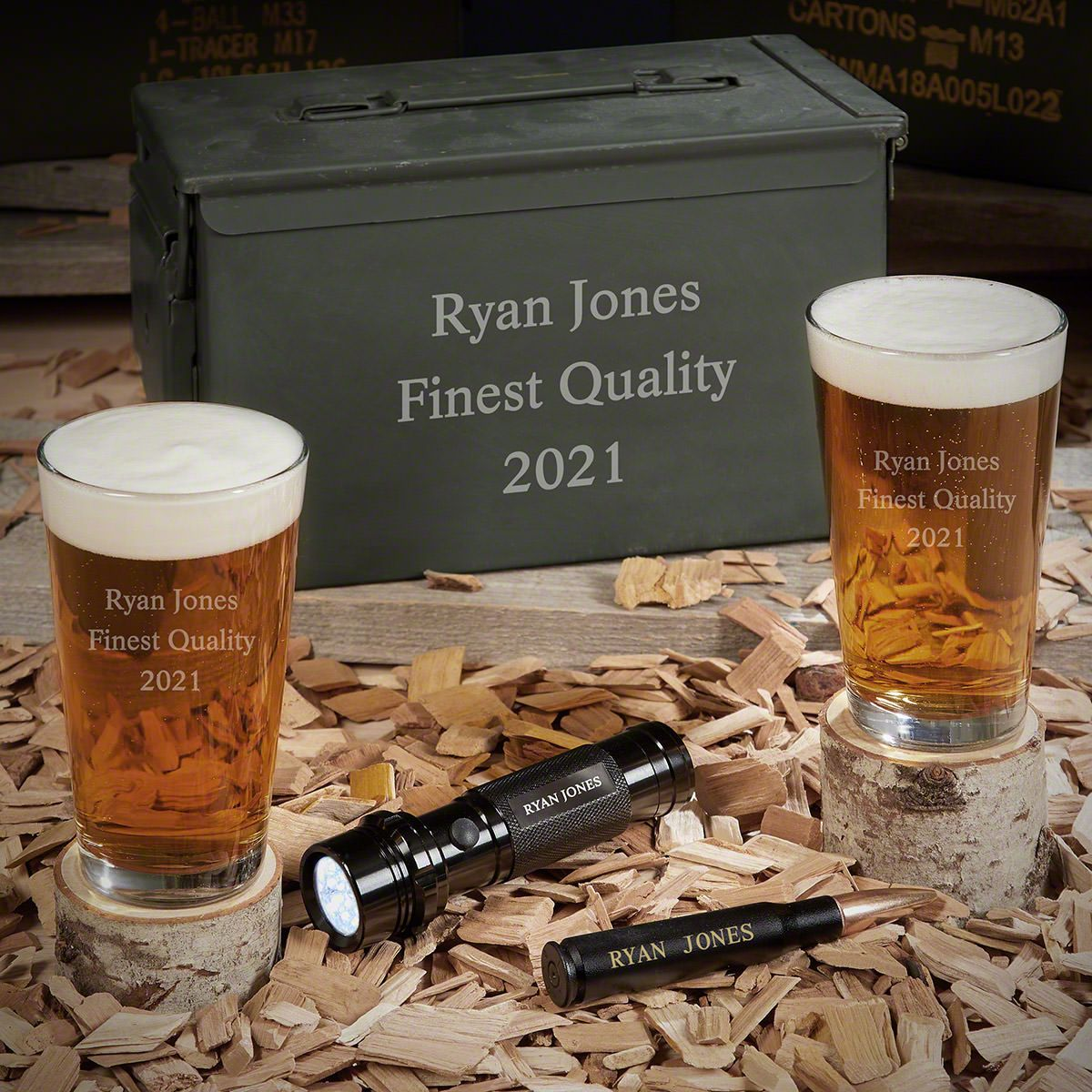 Personalized 50 Cal Beer Gifts with Flashlight