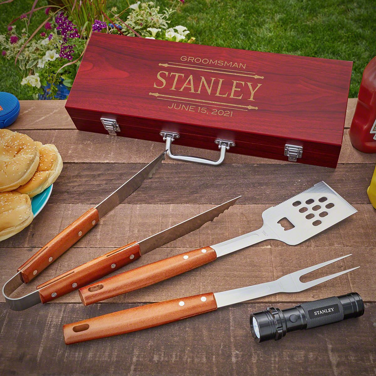 Stanford Engraved Set of Grilling Tools with Flashlight