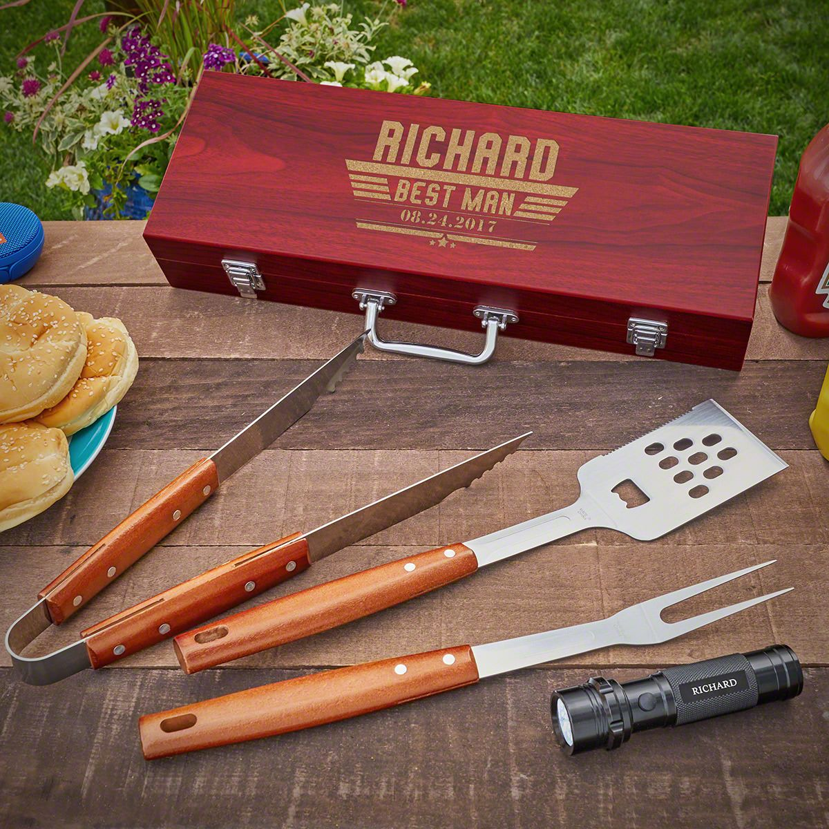 Maverick Personalized Grilling Tools Set of Groomsmen Gifts With Flashlight