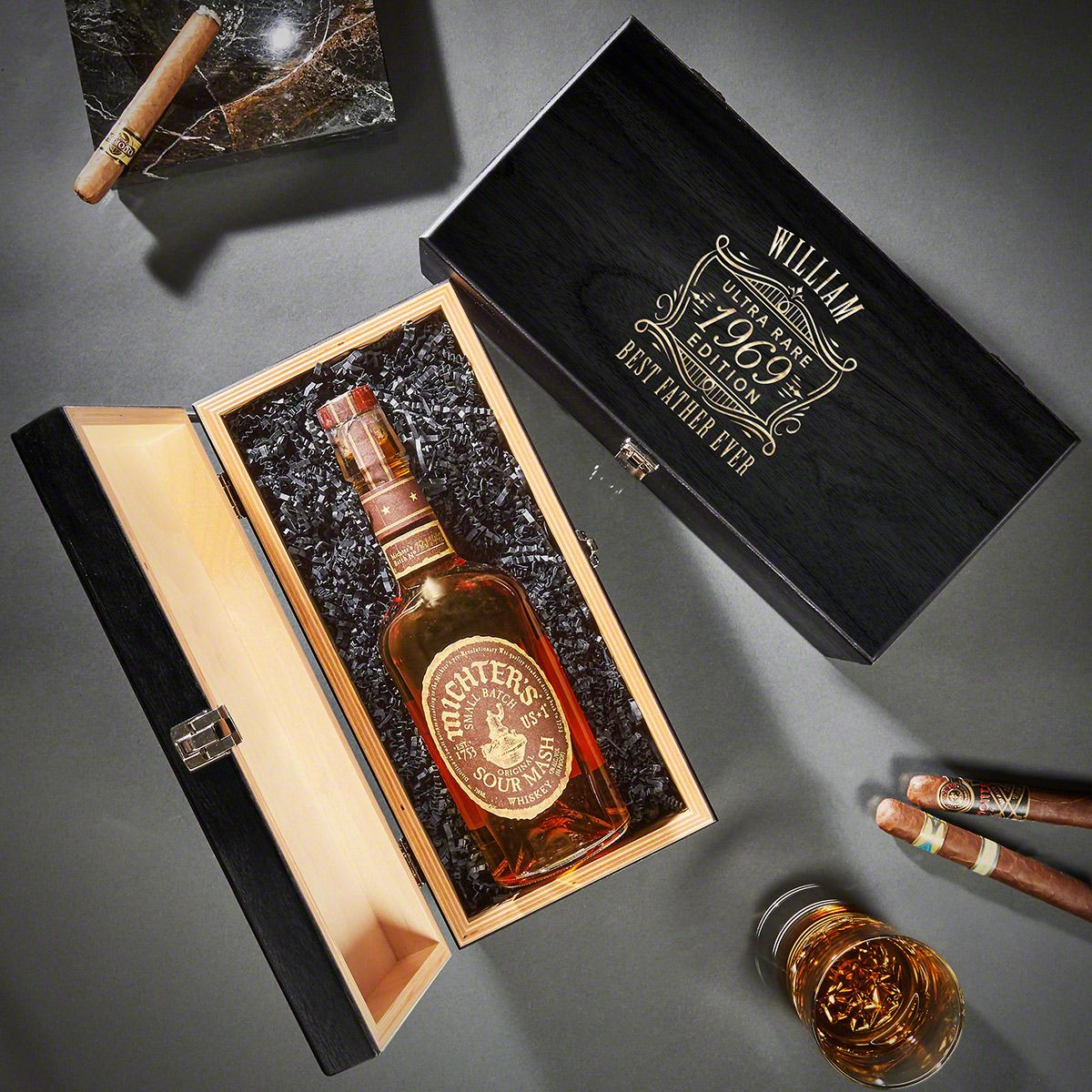 Ultra Rare Edition Baltic Birch Custom Wood Box for Liquor Bottle