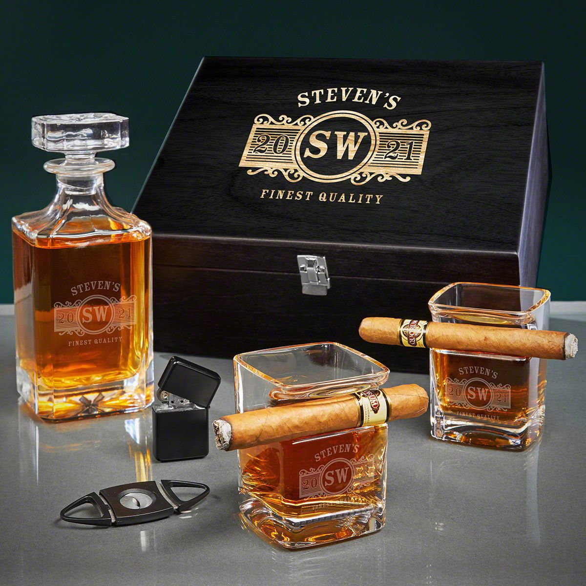 Marquee Engraved Carson Whiskey and Cigar Gift Set
