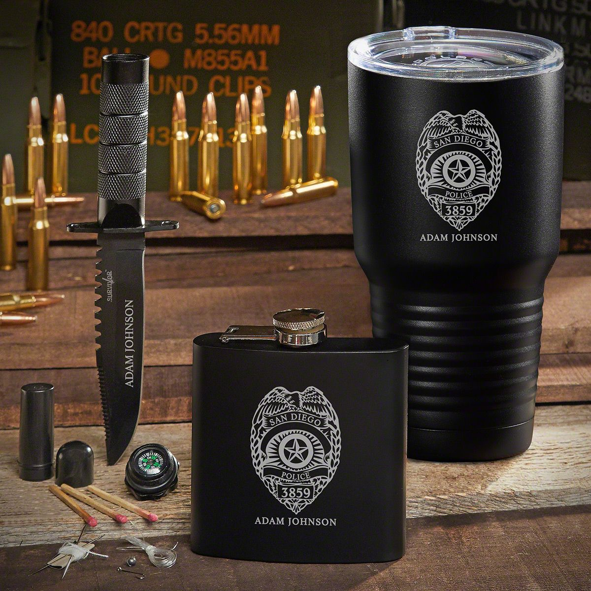 Spec Ops Police Badge Engraved Tumbler Set of Police Gifts