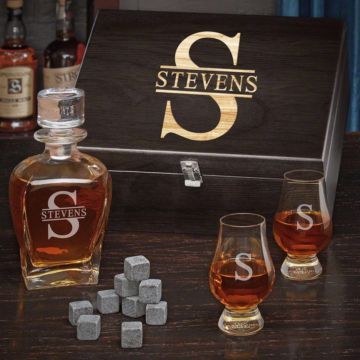Oakmont Engraved Draper Decanter Set of Gifts for Whiskey Lovers