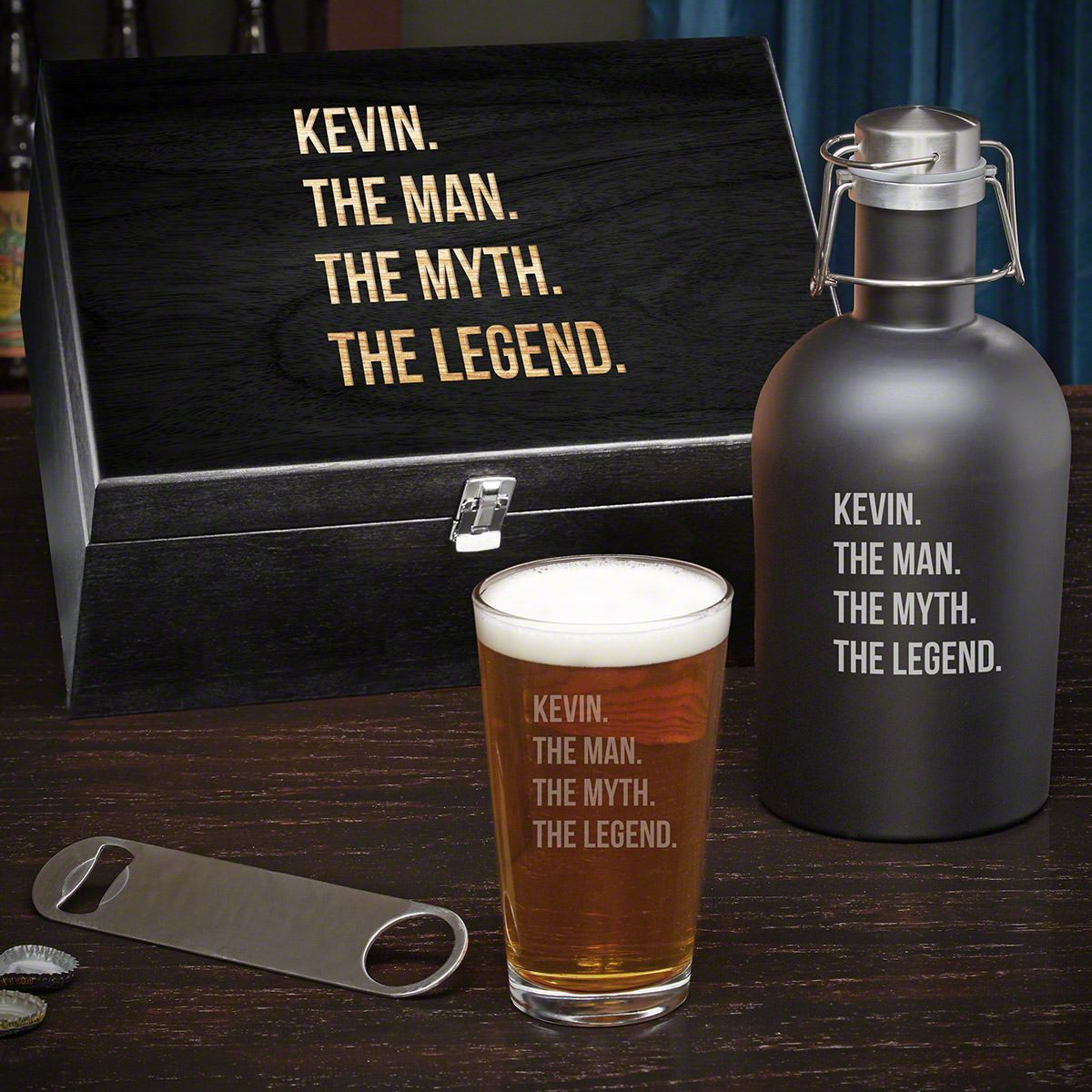 Man Myth Legend Personalized Box Set of Gifts for Beer Lovers