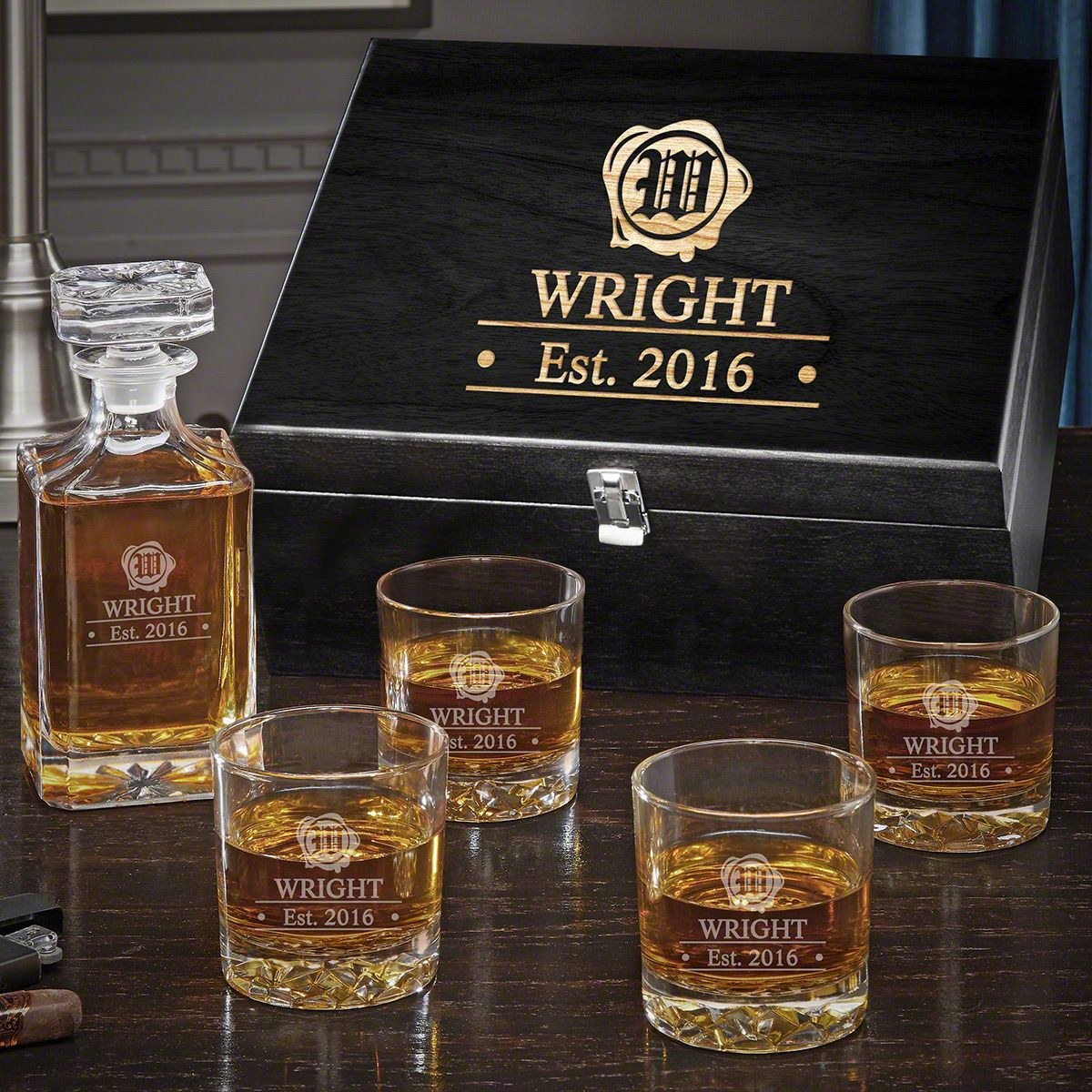 Wax Seal Personalized Carson Crystal Decanter Set