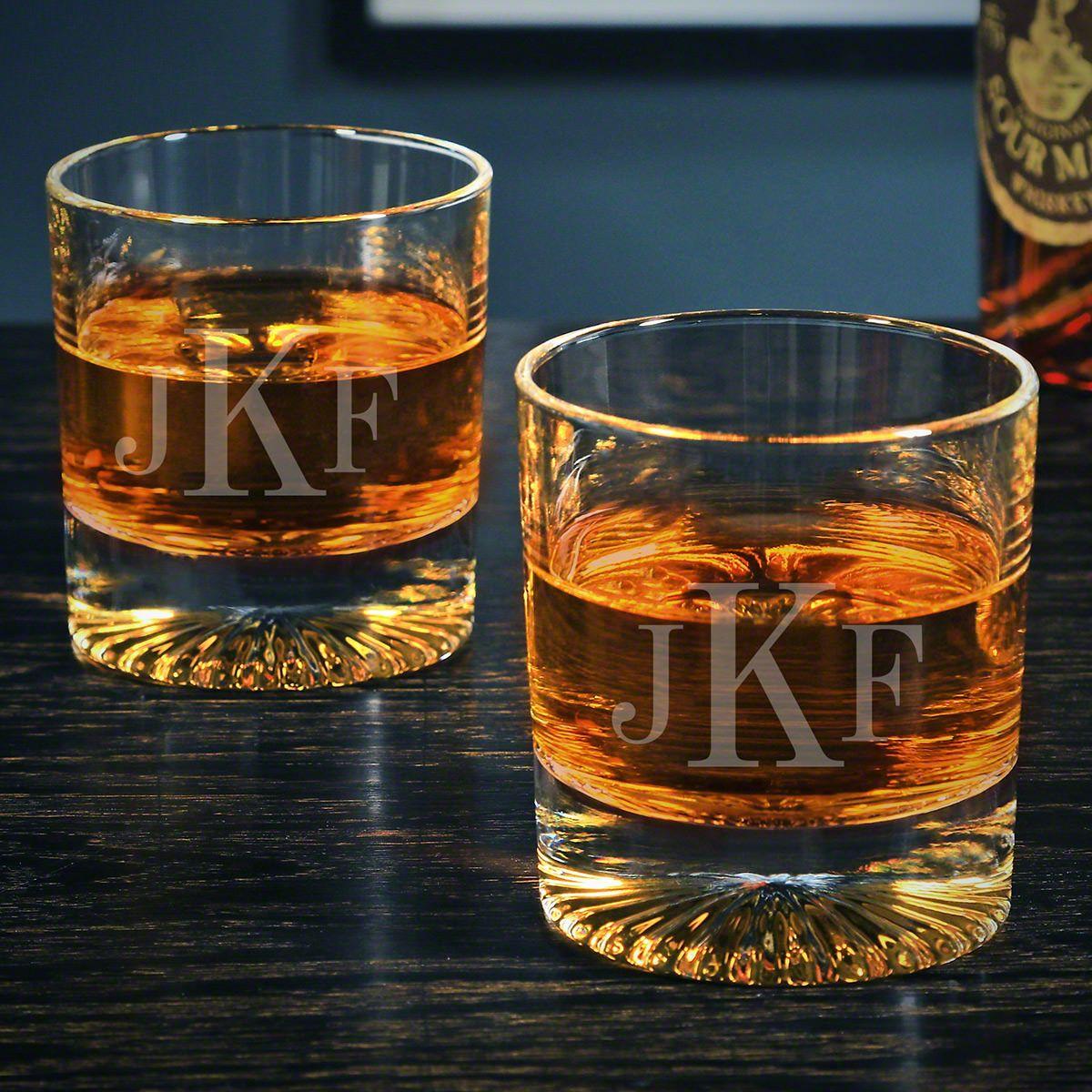 Classic Monogram Custom Churchill Whiskey Glasses Pair
