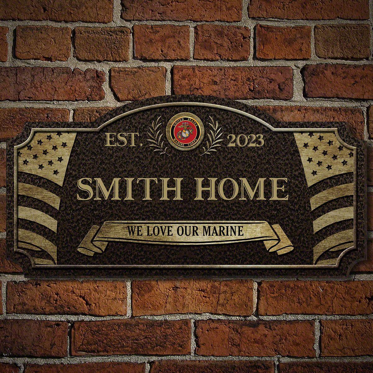 Home Of The Free Custom Wood Sign US Marine Corps Gift