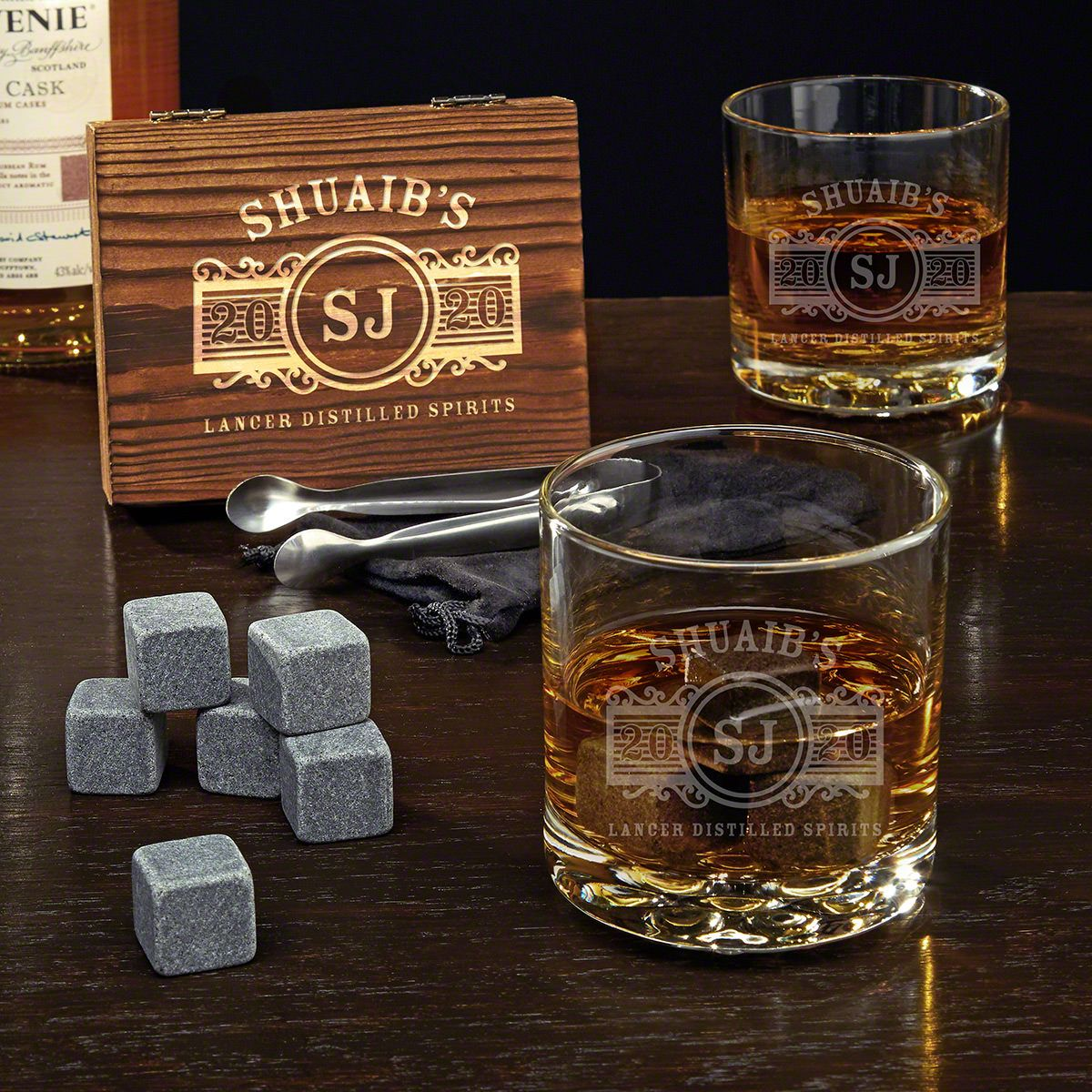 Marquee Personalized Buckman Whiskey Glasses Set