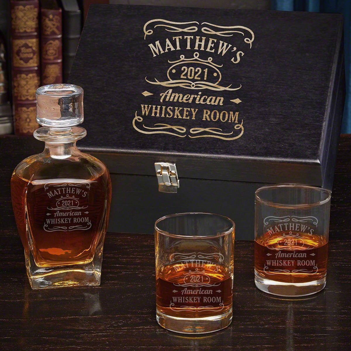 Tennessee Whiskey Draper Etched Whiskey Decanter Set