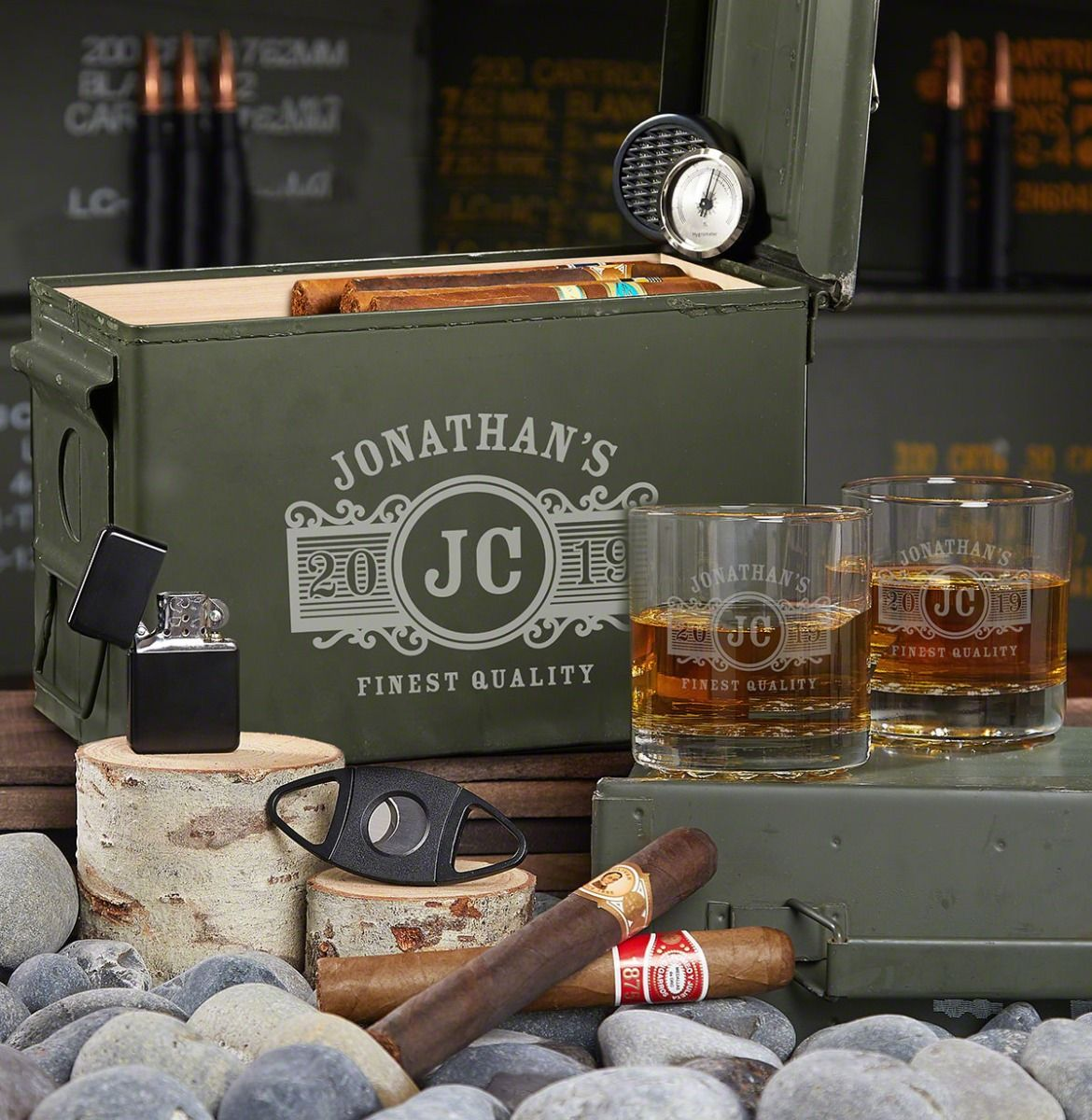 Marquee Personalized 50 Cal Humidor Cigar Gift Set