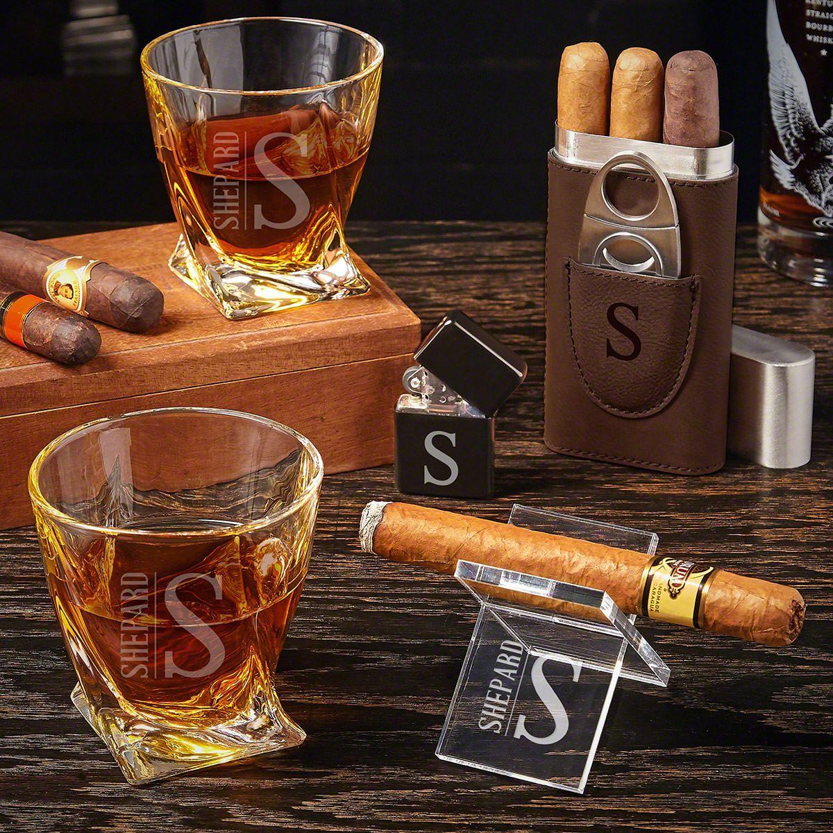 Elton Engraved Cigar Gift Set with Twist Glasses