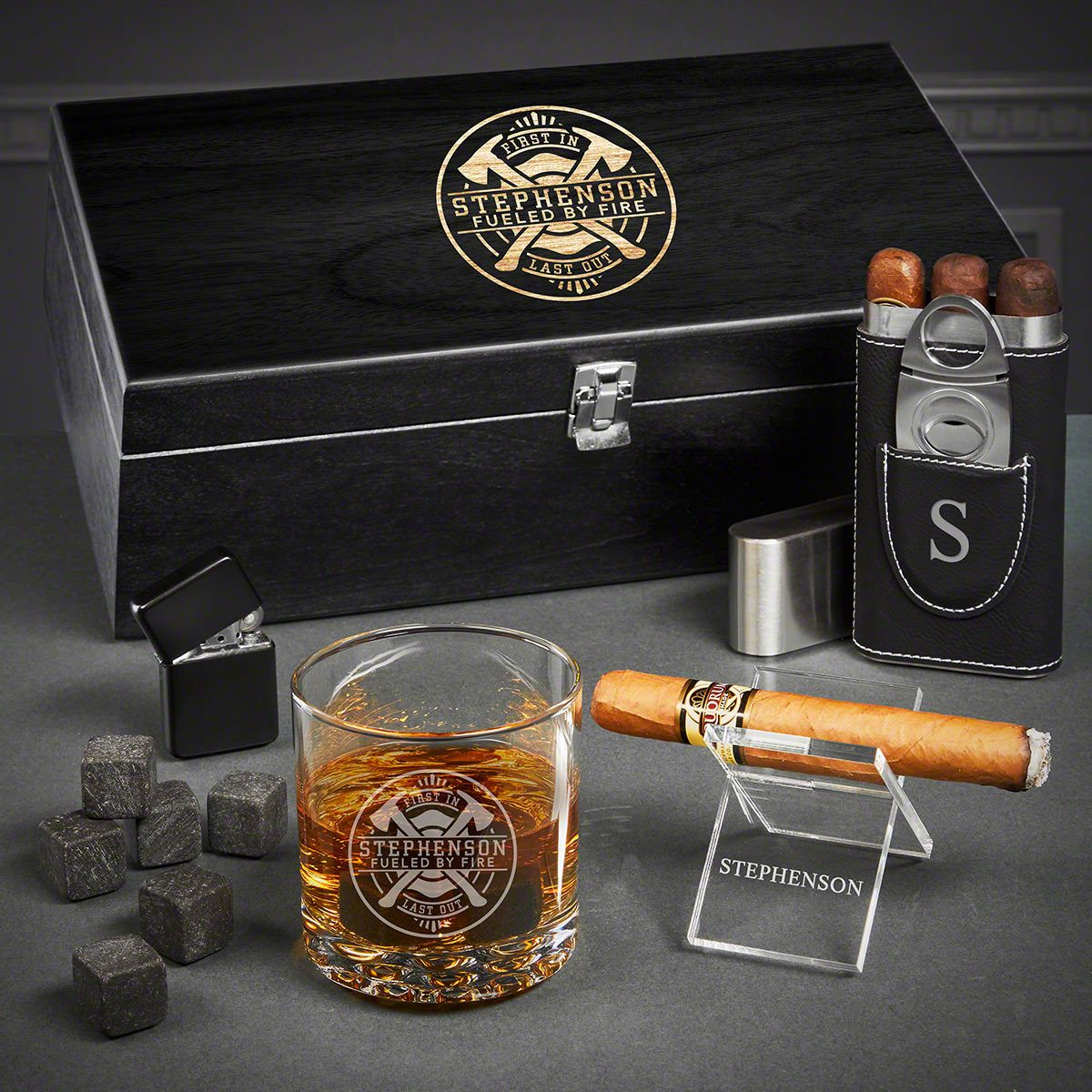 Firefighter Brotherhood Custom Whiskey Cigar Set of Firefighter Gift Ideas