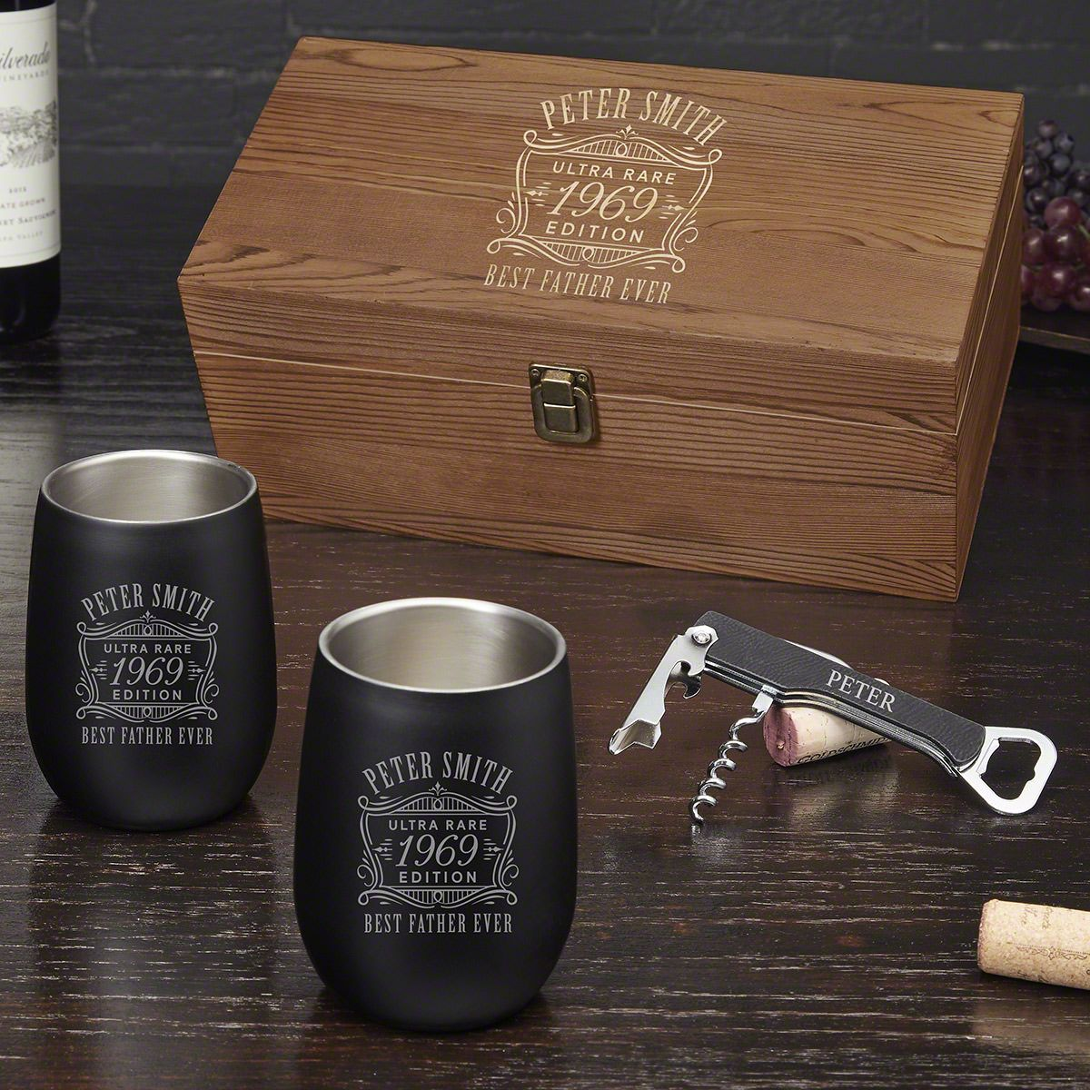 Ultra Rare Engraved Stainless Steel Wine Gift Set