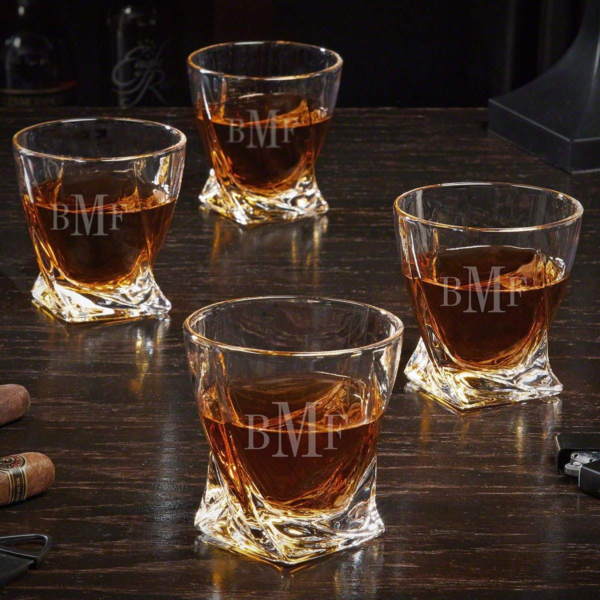 Classic Monogram Set of 4 Twist Personalized Whiskey Glasses