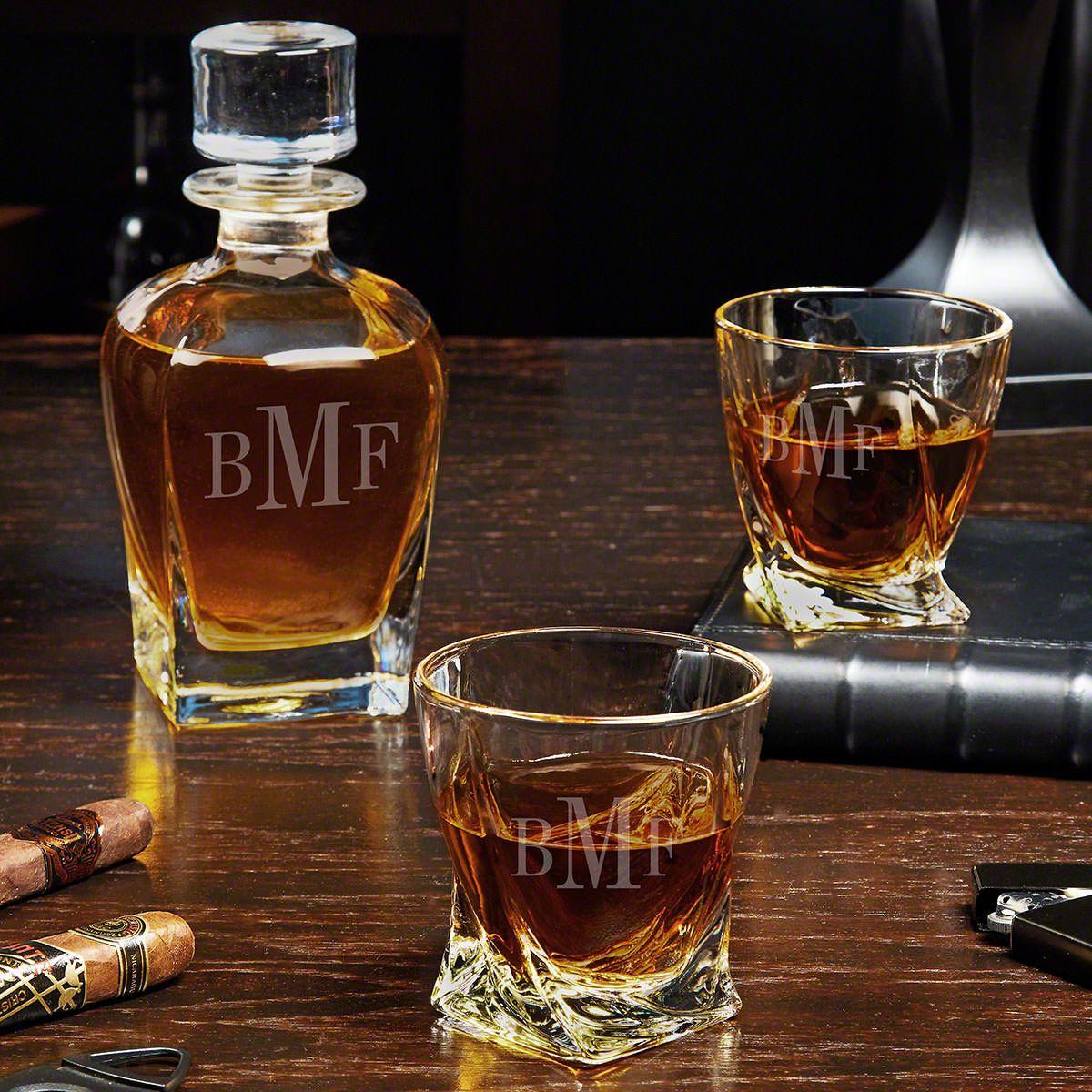 Classic Monogram Engraved Draper Whiskey Decanter Set