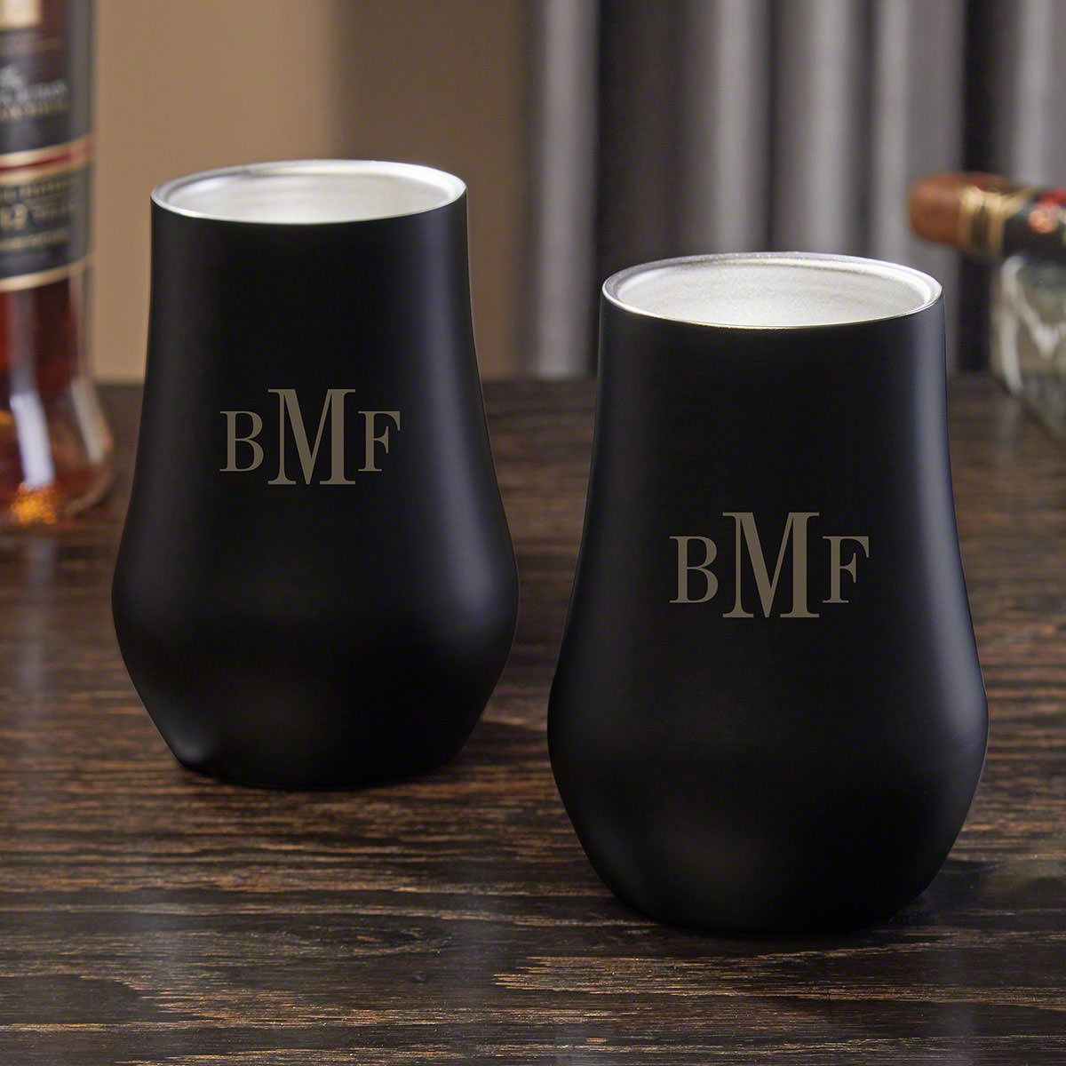 Classic Monogram Engraved Double Wall Neat Glasses Pair