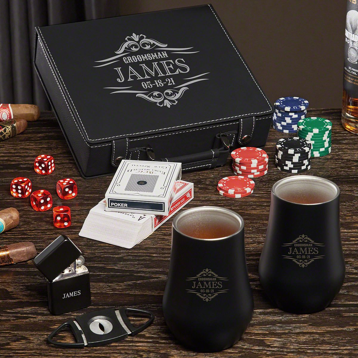 Wilshire Personalized Poker Set with Cigar and Whiskey Gifts