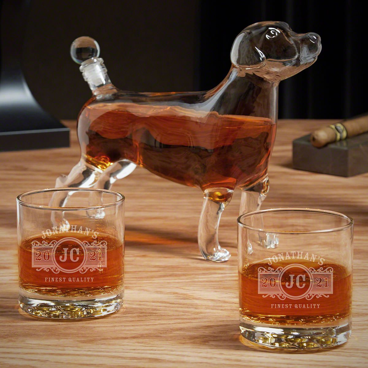 Marquee Labrador Dog Decanter Set with Custom Whiskey Glasses
