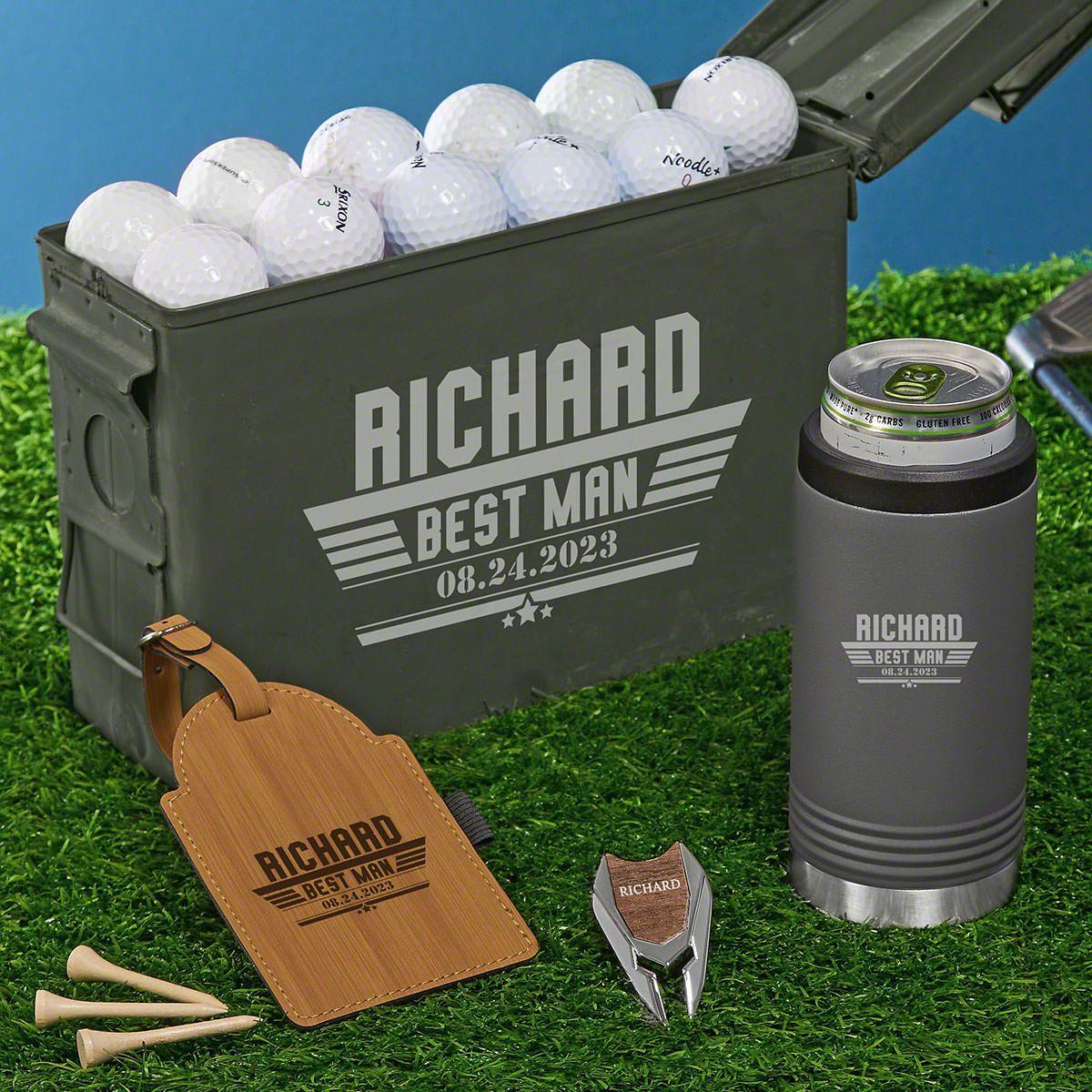 Maverick Custom Gunmetal Can Cooler 30 Cal Set of Groomsmen Gifts