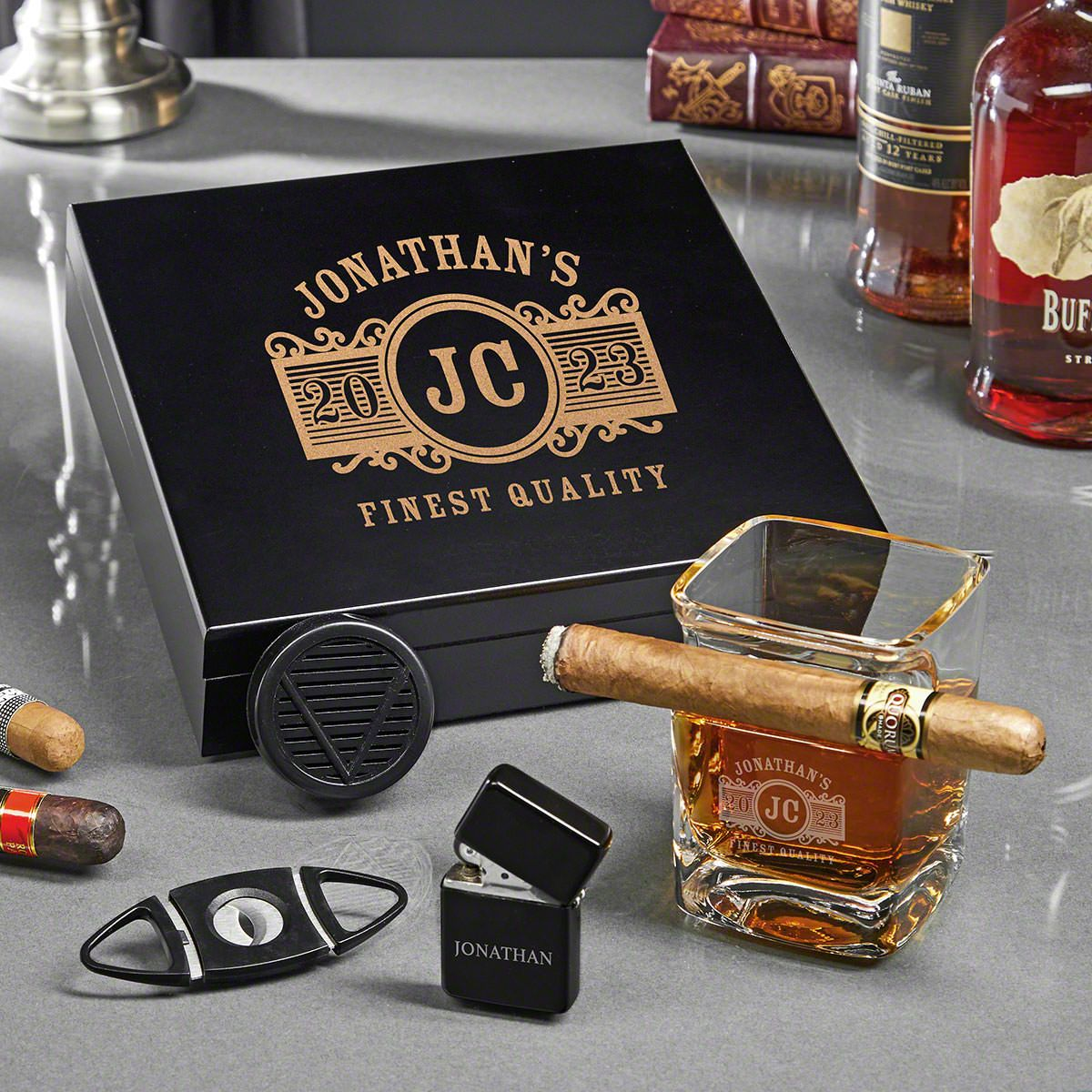 Marquee Custom Humidor Set of Gifts for Cigar Lover
