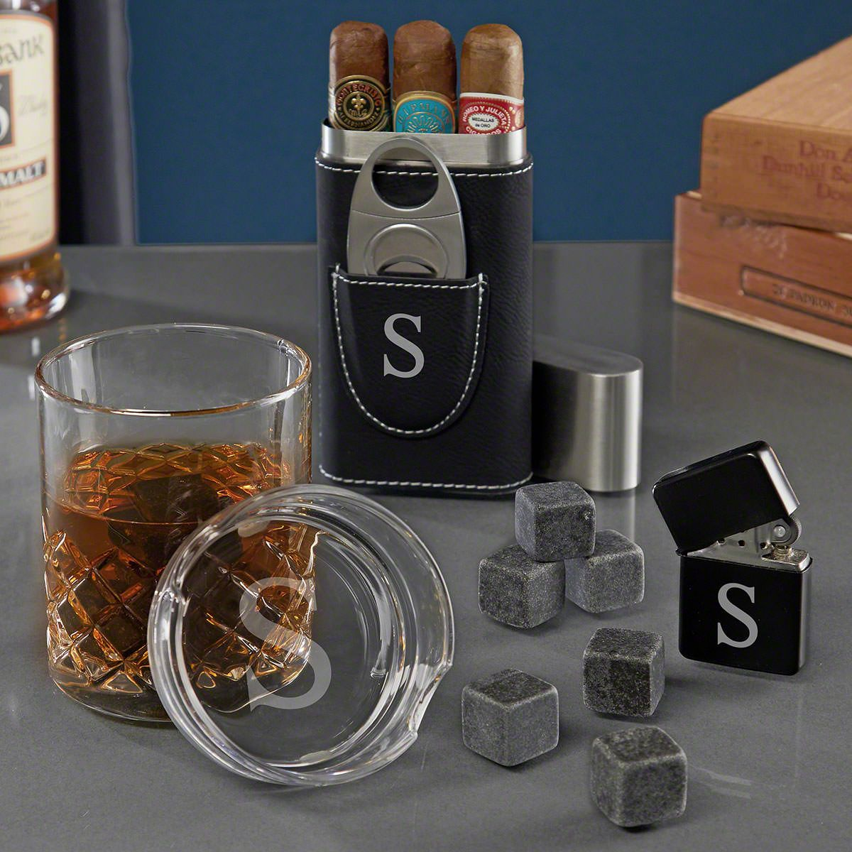 Single Initial Personalized Set of Cigar Gifts