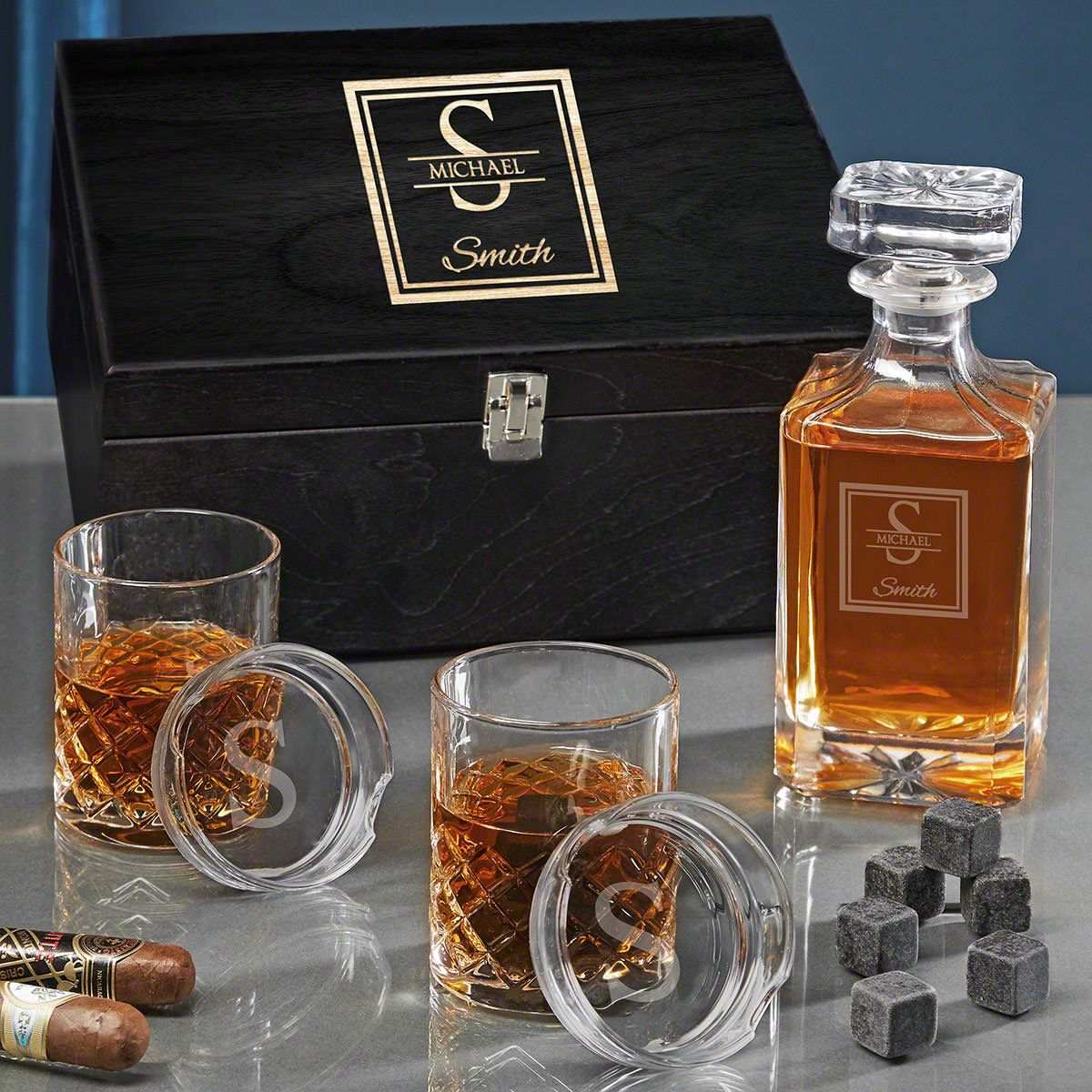 Oakhill Engraved Carson Sterling Whiskey Decanter Set