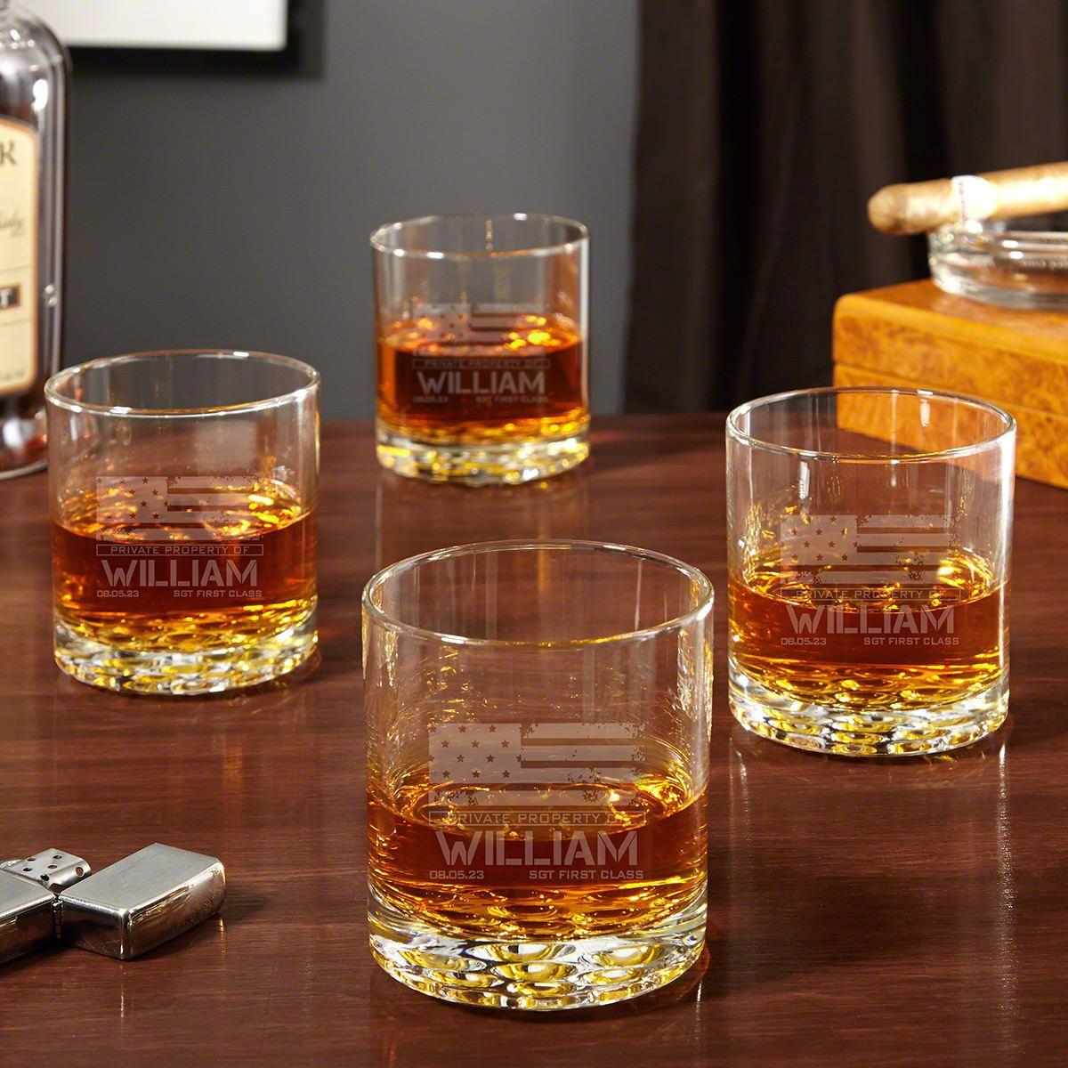 American Heroes Custom Set of 4 Buckman Whiskey Glasses Military Gifts