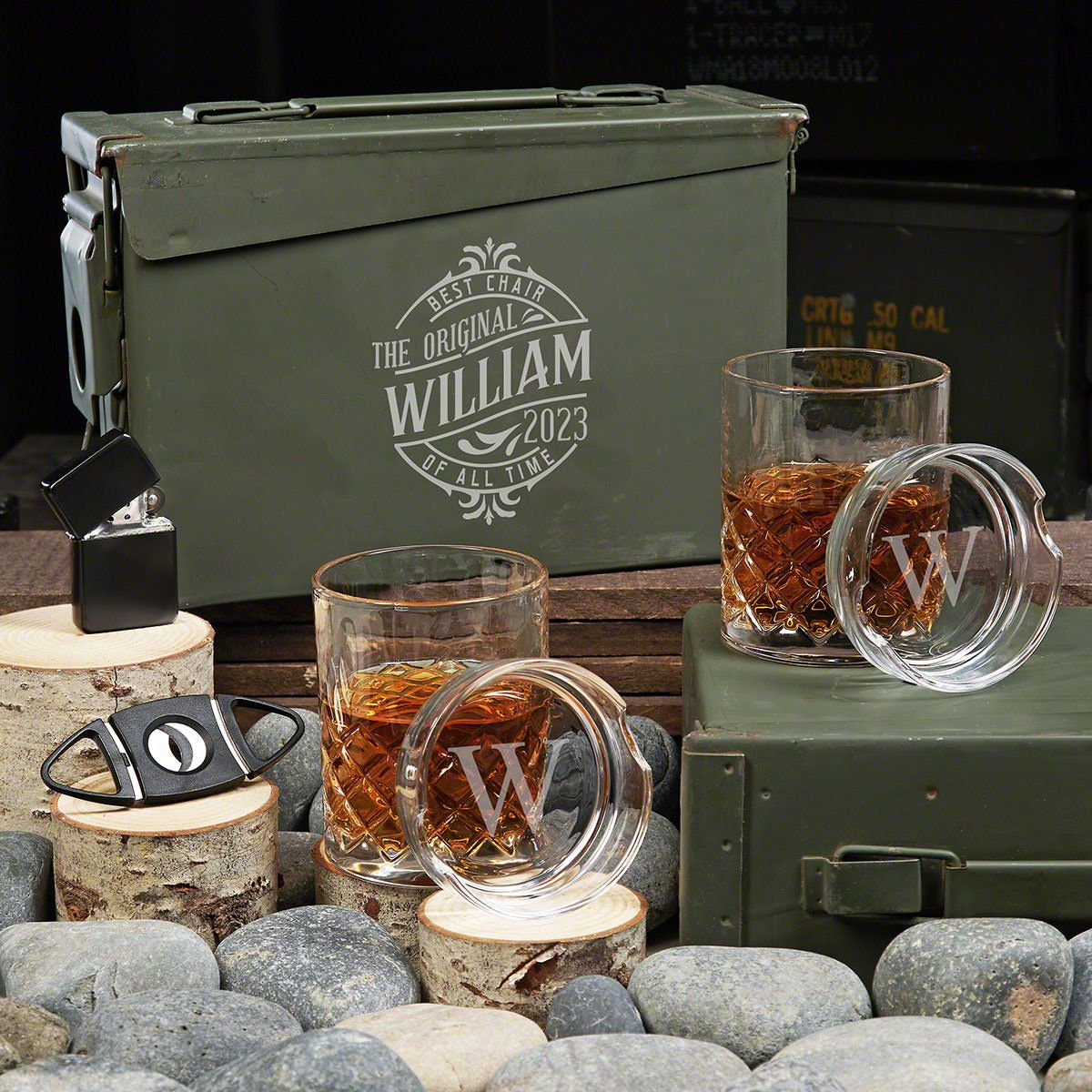 Maddux Personalized Sterling 30 Cal Cigar and Whiskey Gift Set
