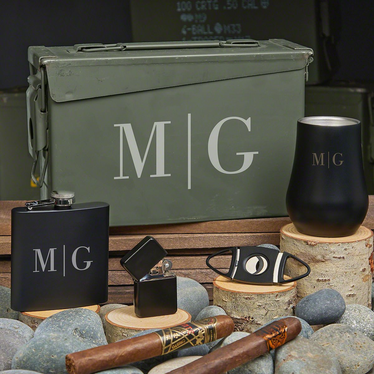 Quinton Engraved 30 Cal Whiskey Gift Set