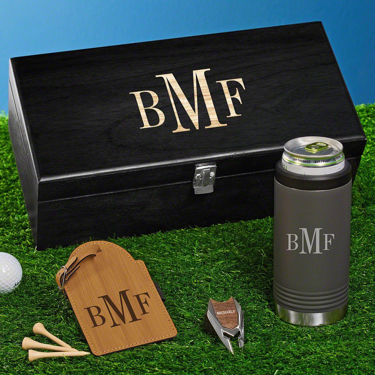 Classic Monogram Custom Gunmetal Slim Cooler Set of Golf Gifts