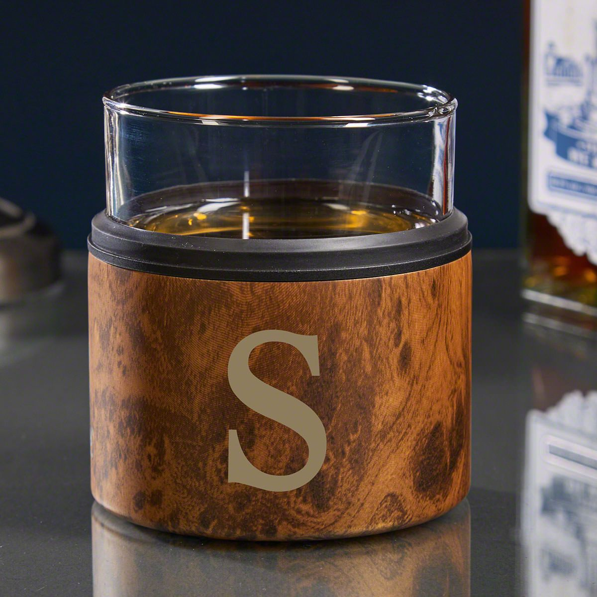 Single Initial Engraved Kuzie with Whiskey Glass