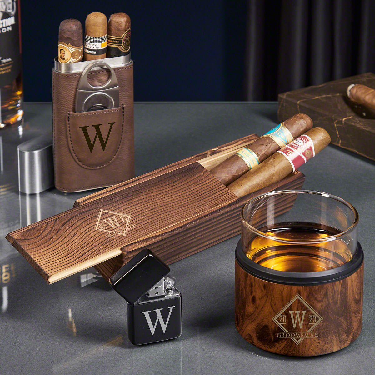 Personalized Whiskey Kuzie and Cigar Gift Set