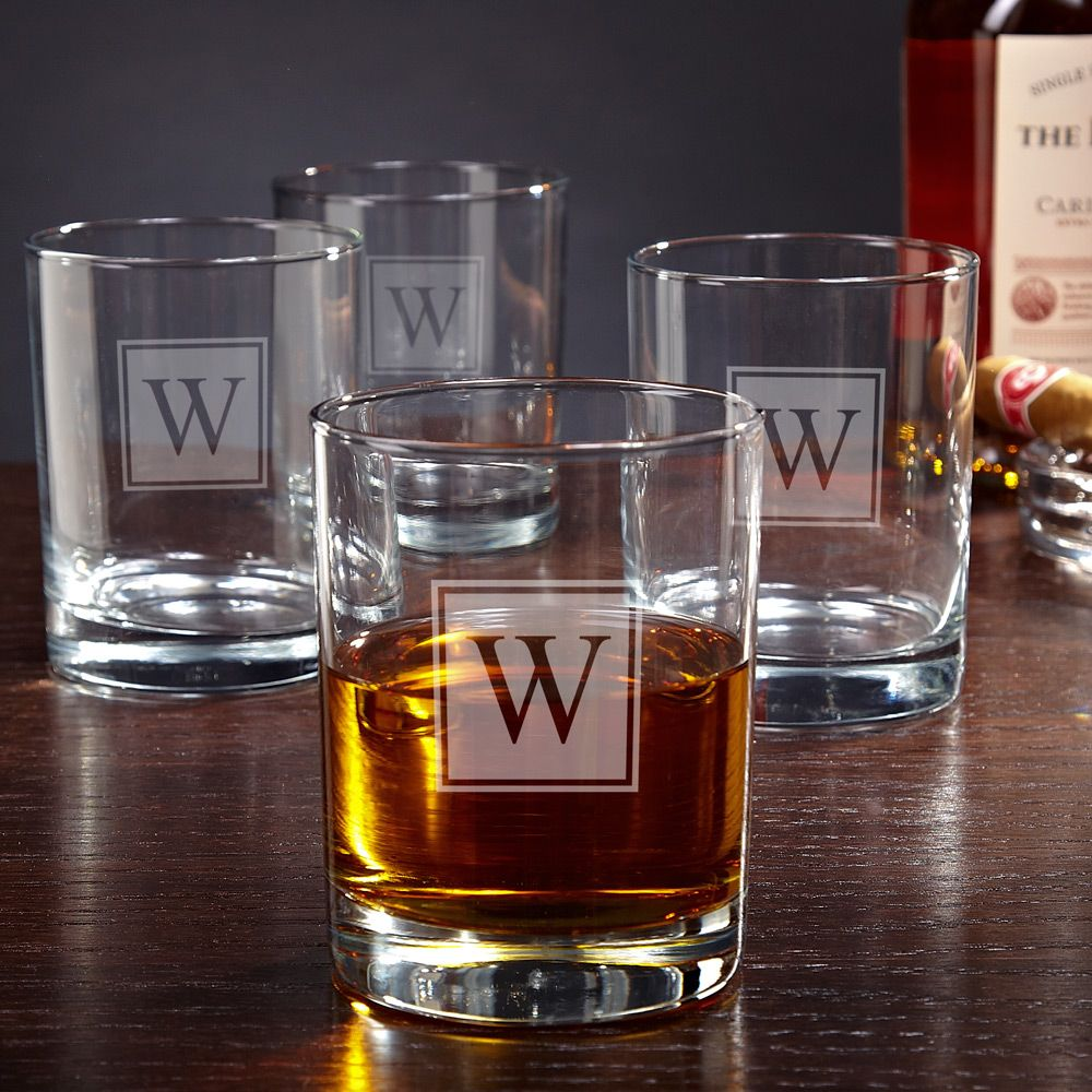 Eastham Block Monogram Personalized Rocks Glasses, set of 4
