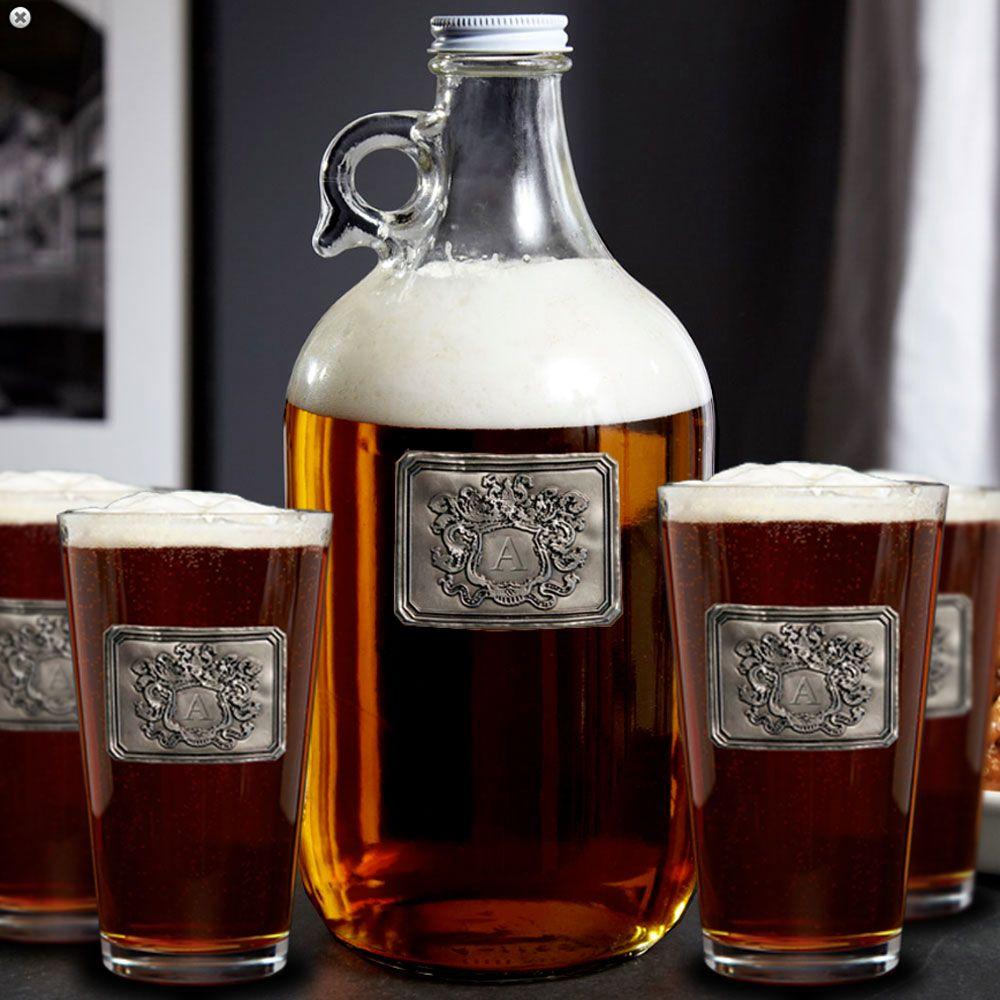 Royal Crested Growler & Beer Glass Gift Set