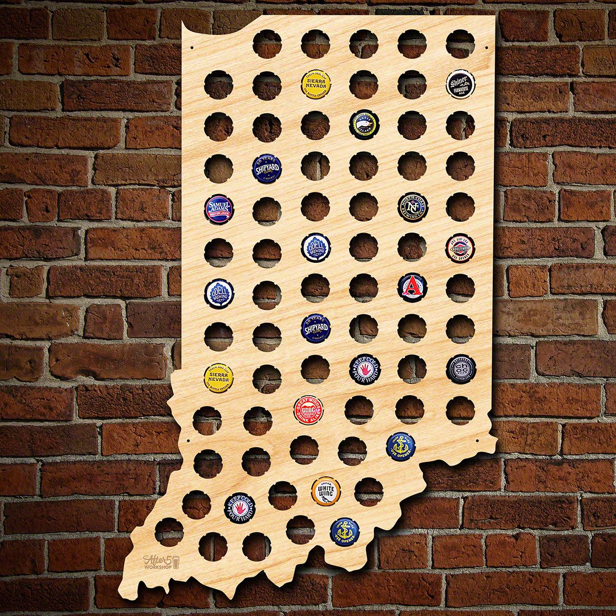Indiana Beer Cap Map