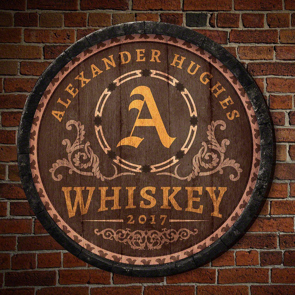 Lancaster Personalized Whiskey Barrel Bar Sign
