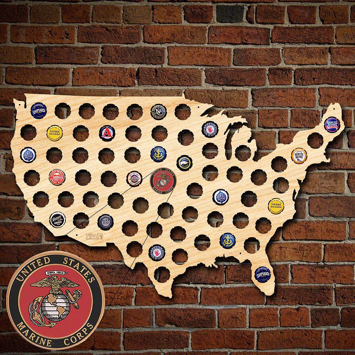 US Marine Corp Beer Cap Map of America
